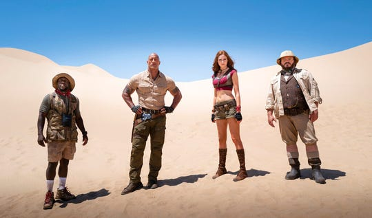 """From left, Kevin Hart, Dwayne Johnson, Karen Gillan and Jack Black star in  """"Jumanji: The Next Level."""" The movie opens Thursday at Regal West Manchester, Queensgate Movies 13 and R/C Hanover Movies."""