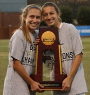 Dover High School graduate Brooke Firestone, right, is shown with her sister, Kylie. Both Brooke and Kylie are members of the Messiah College women's soccer team that recently won an NCAA Division III national title.