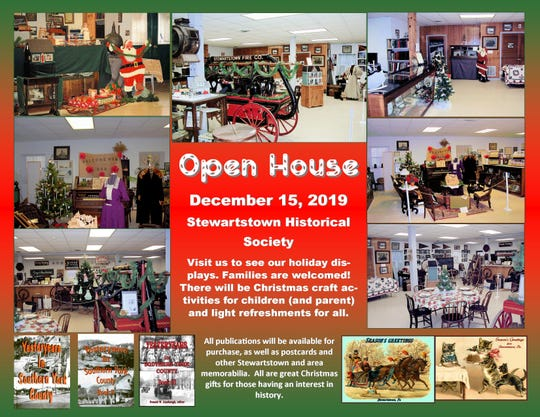 The Stewartstown Historical Society will hold an open house Sunday.