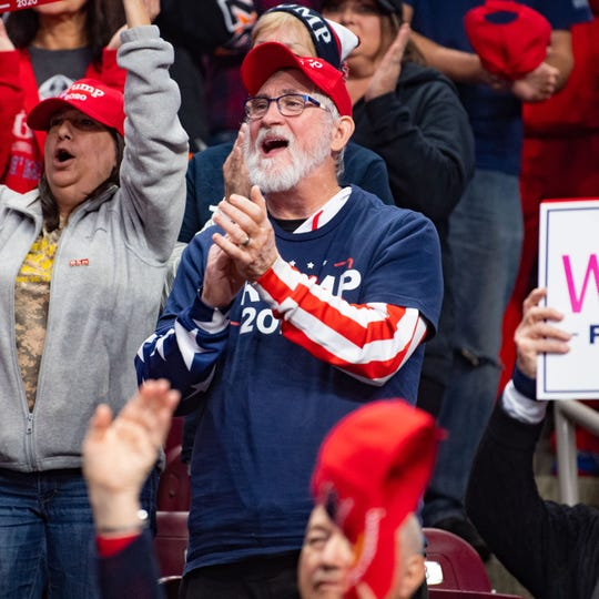 Supporters cheer on President Donald Trump at the Giant Center in Hershey, Pennsylvania.