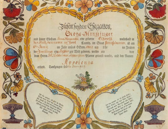 Lepper and Stettinius Birth and Baptismal Certificate.