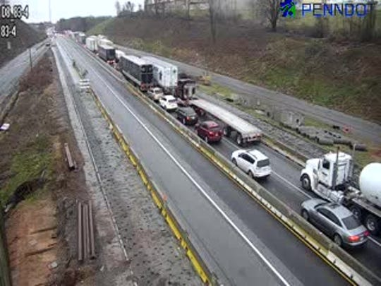 Traffic is backed up on I-83 in the Shrewsbury area because of a serious crash just over the state line. Emergency responders are asking the public to avoid the area.