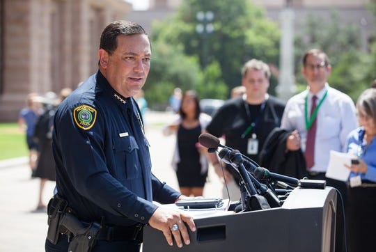 Houston Police Chief Art Acevedo, pictured in this file photo at a July press conference, said Republican elected officials were too afraid of retaliation from the National Rifle Association to support the provision.