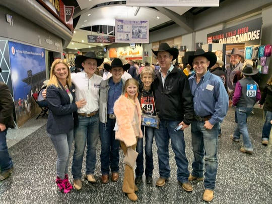 The Harris family, from left to right, Dorley, Joel Braden, Wyatt, Cheyenne, Peggy, Gil and Walt, at the National Finals Rodeo Dec. 9, 2019, at the Thomas & Mack Center in Las Vegas.