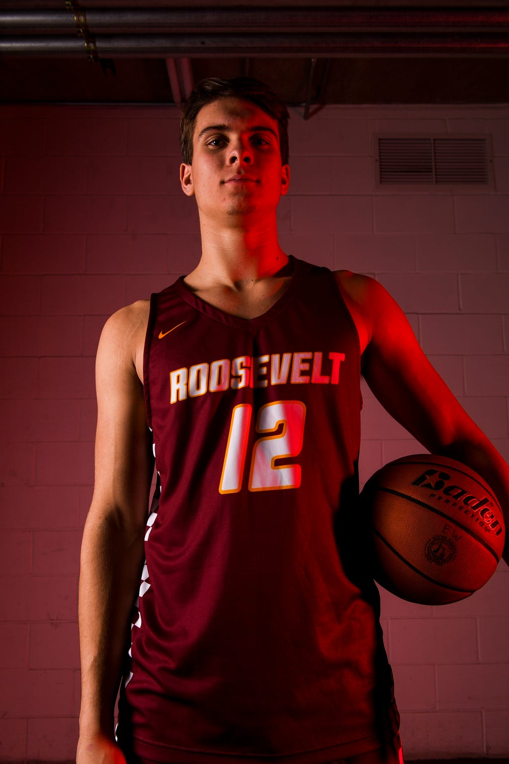 Roosevelt's Brady Dannenbring (12) poses for a portrait during basketball media day on Saturday, Dec. 7, 2019 at the Argus Leader.