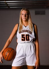 Washington's Sydni Schetnan (50) poses for a portrait during basketball media day on Saturday, Dec. 7, 2019 at the Argus Leader.