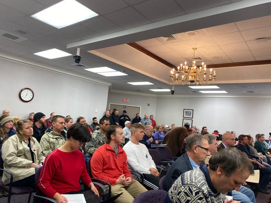Waynesboro residents packed city council chambers for the Monday night meeting in anticipation for comments about gun legislation. Several more people entered after the meeting started, and it was standing room only for most of the meeting.