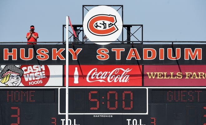 The St. Cloud State football team is filmed from a perch above the scoreboard during practice Wednesday, Aug. 8, 2018, at Husky Stadium in St. Cloud.