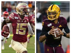 Florida State receiver Tamorrion Terry (left) and Arizona State quarterback Jayden Daniels (right)