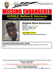 Port St. Lucie police issued a press release for Matthew Bryan Desrivieres, 14, who is considered endangered and was reported missing over the weekend.