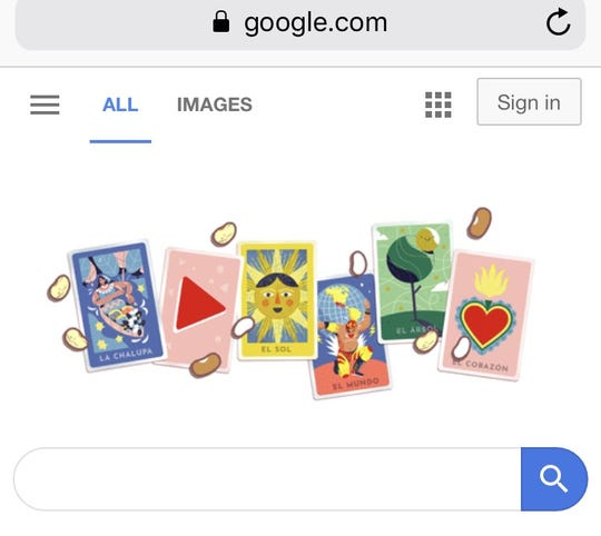 A snapshot of Loteria game on Google.com
