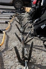 Tire spike chain used to stop vehicles seized from Mexicles gang members in Juarez, Mexico.