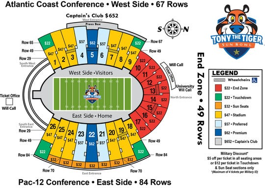 Stadium map for the Tony the Tiger Sun Bowl with ticket prices