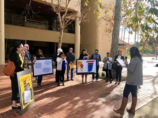 """CAUSE policy advocate Lucia Marquez speaks to supporters at a news  conference on the organization's new report, """"Housing Crisis 805."""""""