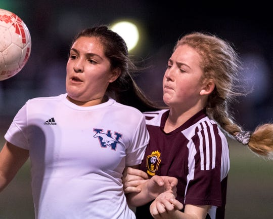 Tulare Union's Jaci Maze, right, in an East Yosemite League high school girls soccer game against Tulare Western on Wednesday, February 7, 2018.