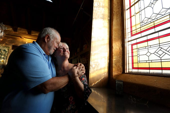 Bobbi and Nick Ercoline of Pine Bush, N.Y. hold each other at The Winery at St. George Restaurant and Lounge in Mohegan Lake May 8, 2019. The couple were immortalized in a photo taken at Woodstock that was used as the cover photo on the Woodstock soundtrack album. The couple were at the restaurant as guests of honor during an event billed as the Woodstock Experience 50th Anniversary concert.