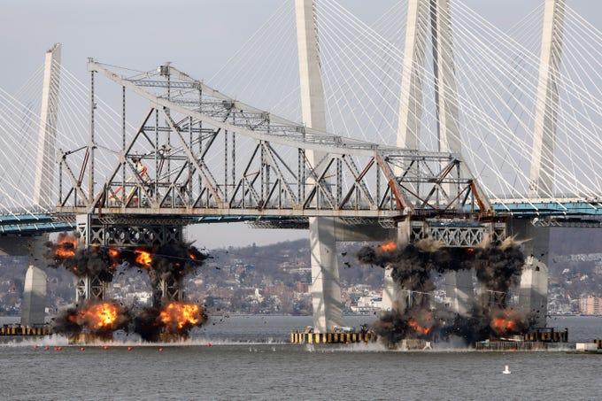 Explosives bring down the eastern portion of the Tappan Zee Bridge Jan. 15, 2019 as seen from Tarrytown.