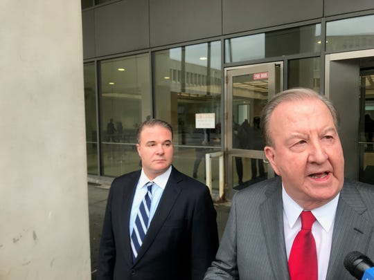 Dr. Matthew Bonanno, left, and his lawyer Paul Gentile outside the Westchester County Courthouse, Tuesday, Dec. 10, 2019.