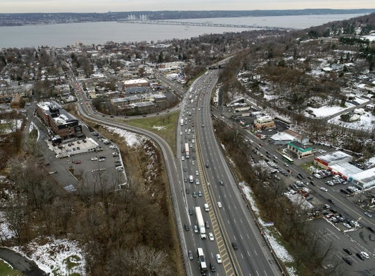 Drone image of evening rush hour traffic along Route 87/287 in Nyack, photographed on Friday, December 6, 2019.