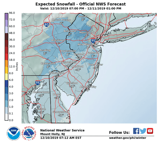 Parts of Delaware could see snow Tuesday night into Wednesday.