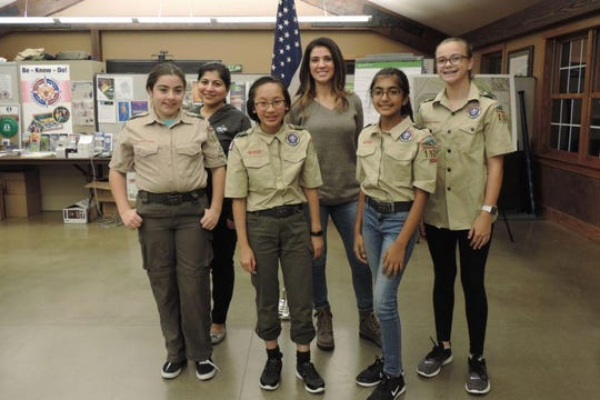 Troop 1920 continues to grow as more young women join Scouts BSA from three counties in Delaware and Maryland. Front, from left: Scouts Dassi Shortridge-Pitzer, Chuiyee Kong, Meera Singh and Cassidy Landry. Back from left: Scoutmasters Vani Singh and Iliana Stewart.