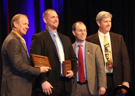 Ben Huber, second from right, is the winner of the 2019 YFA Excellence in Ag Award at the WFBF annual meeting and YFA Conference in Wisconsin Dells on Dec. 8.
