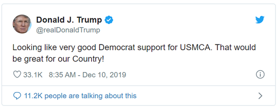 President Trump took to Twitter to share the good news.