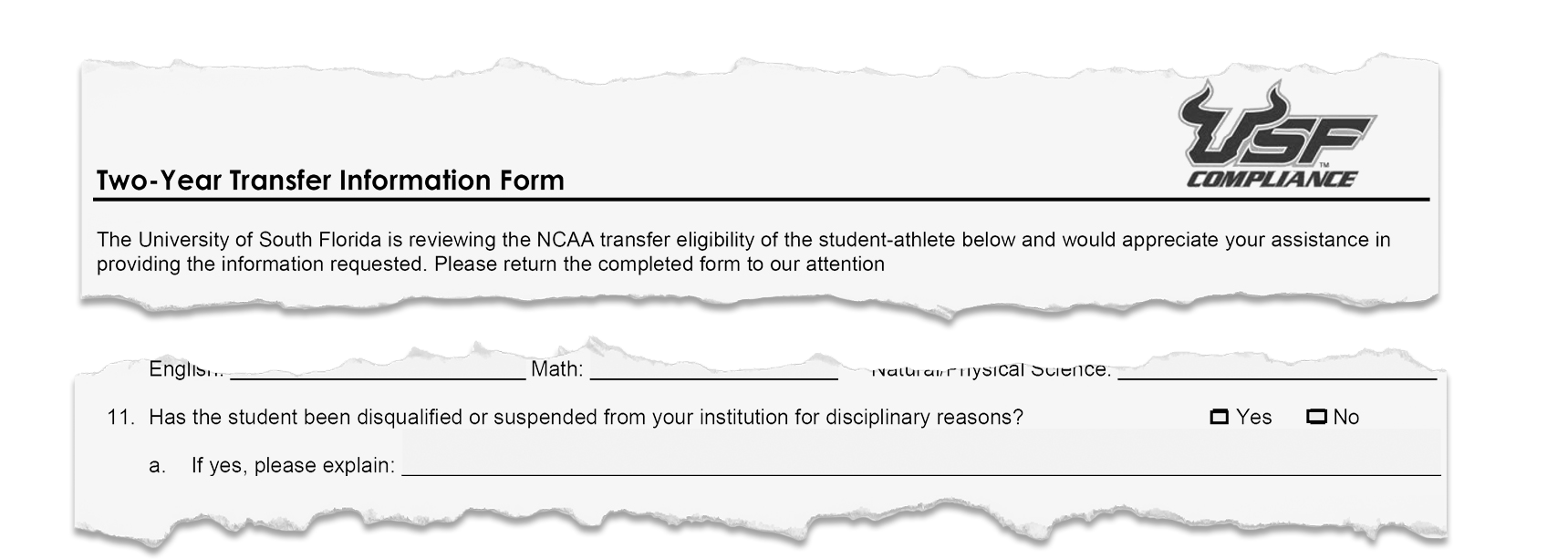 Two-year transfer tracer form.