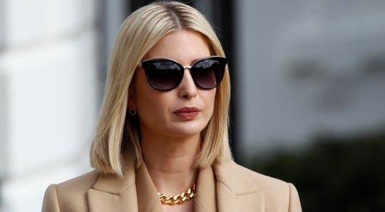 Ivanka Trump, the daughter and adviser of President Donald Trump, listens as  Trump talks to the media on his way to the Marine One helicopter, Nov. 20, 2019, as they leave the White House in Washington, en route to Texas.