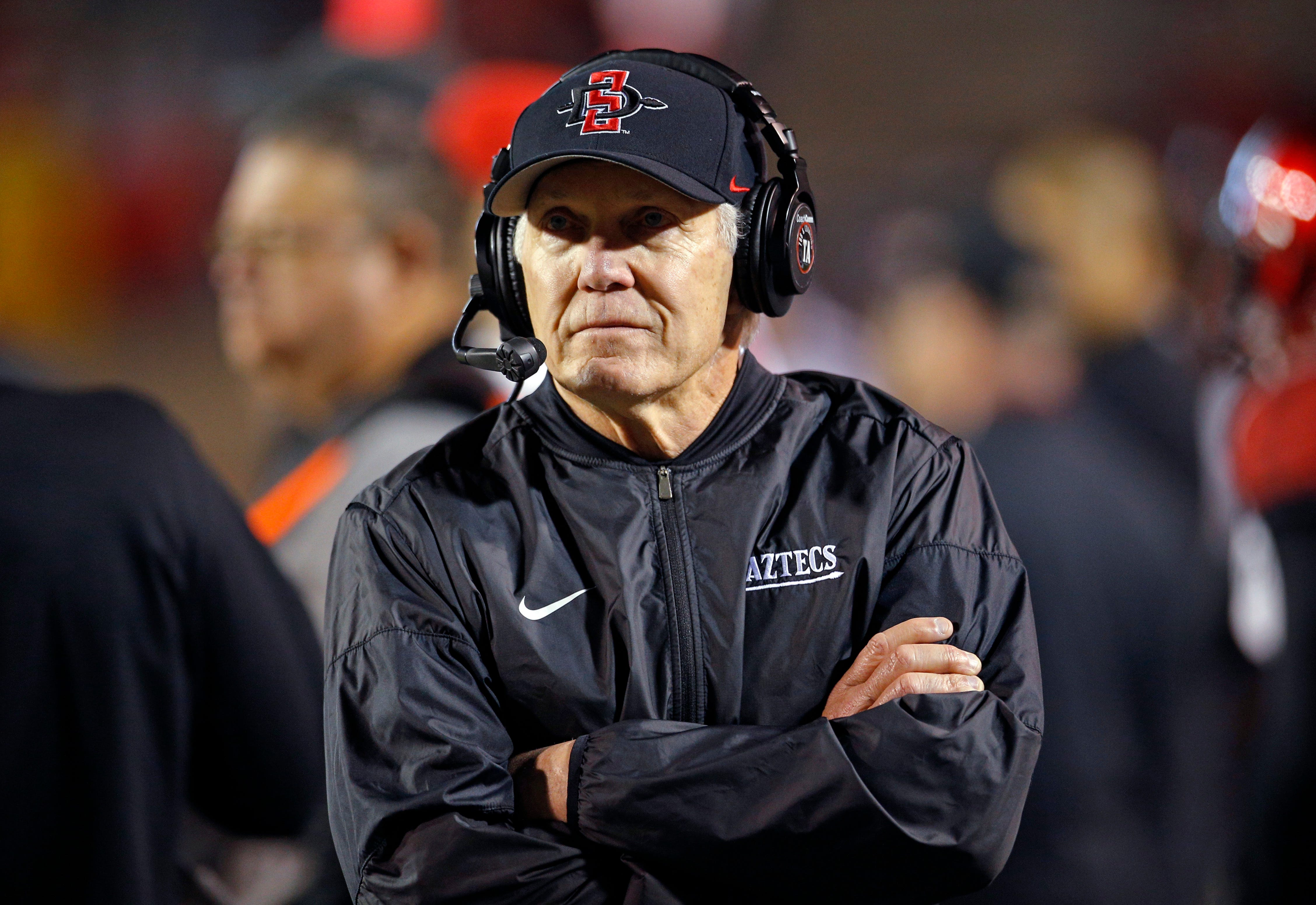 San Diego State coach Rocky Long in a 2018 file photo.