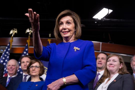 House Speaker Nancy Pelosi announces at a news conference in the Capitol that House Democrats have struck a deal with the Trump administration on moving forward on a new trade agreement with Mexico and Canada.