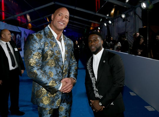 """Dwayne Johnson and Kevin Hart attend the """"Jumanji: The Next Level"""" premiere."""