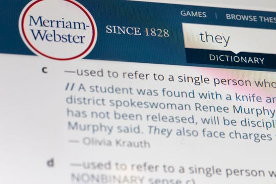 "The language mavens at Merriam-Webster declared the personal pronoun ""they"" their word of the year based on a 313% increase in look-ups on the company's search site, Merriam-Webster.com, this year when compared with 2018."