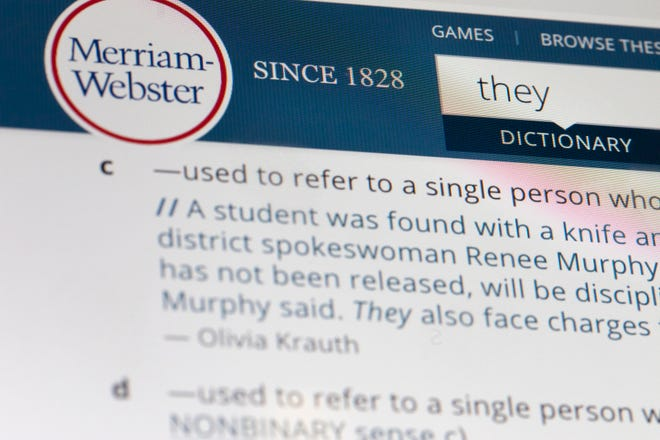 The language mavens at Merriam-Webster declared the personal pronoun 'they' their word of the year based on a 313 percent increase in look-ups on the company's search site, Merriam-Webster.com, this year when compared with 2018.