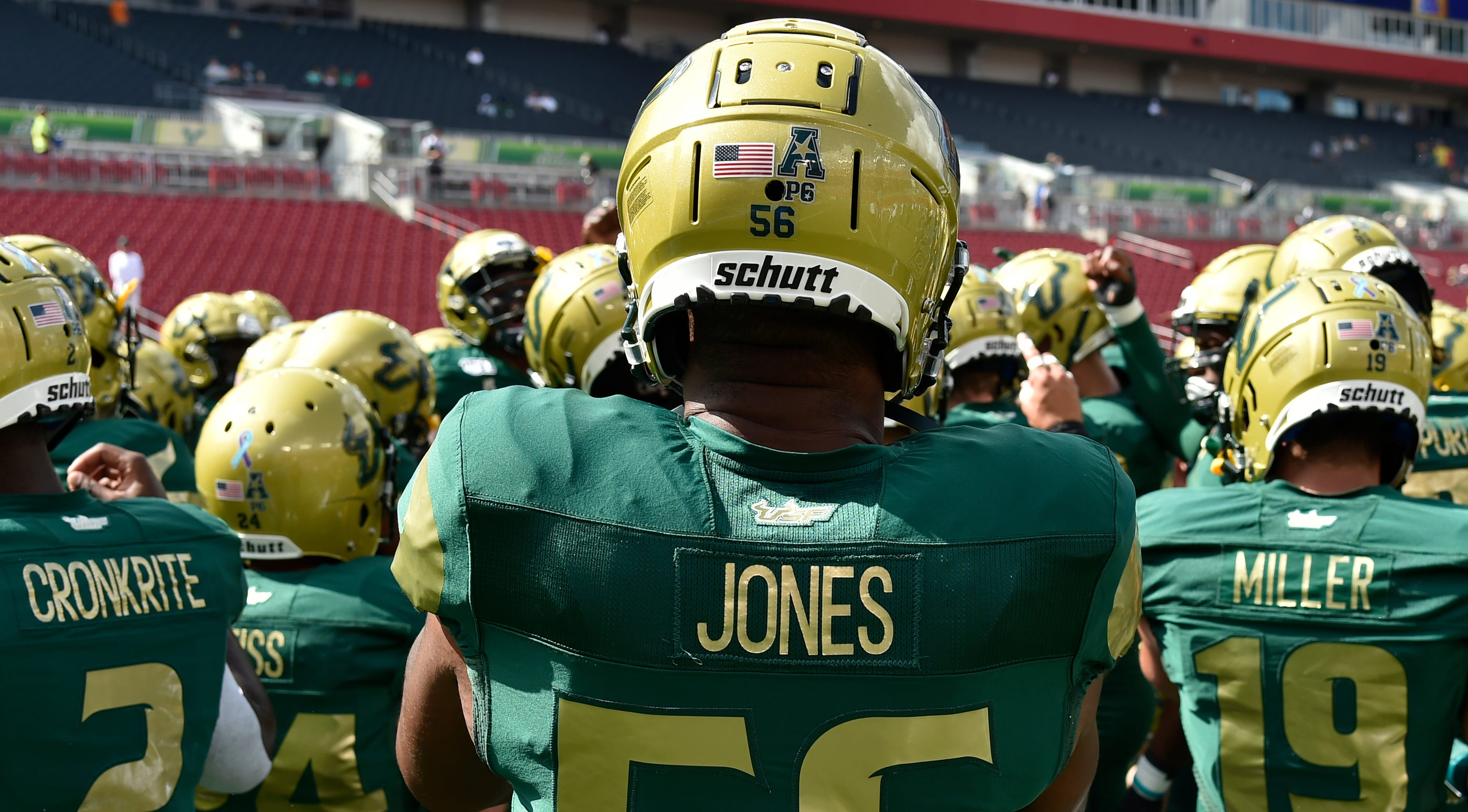 Tyrik Jones did not have a purple and teal ribbon sticker on the back of his helmet during a special sexual assault awareness game on Sept. 28, 2019, in Tampa, Florida.