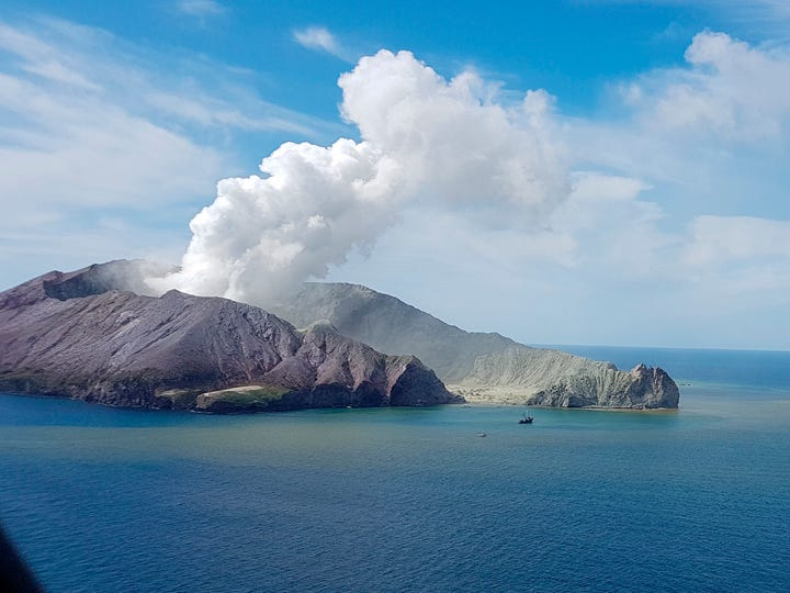 This photo provided by Auckland Rescue Helicopter Trust shows the eruption of the volcano on White Island in New Zealand.