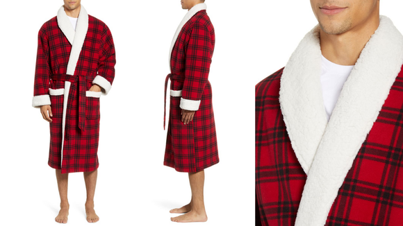 Best gifts for grandpa 2019: Plaid Fleece Robe with Faux Shearling Lining