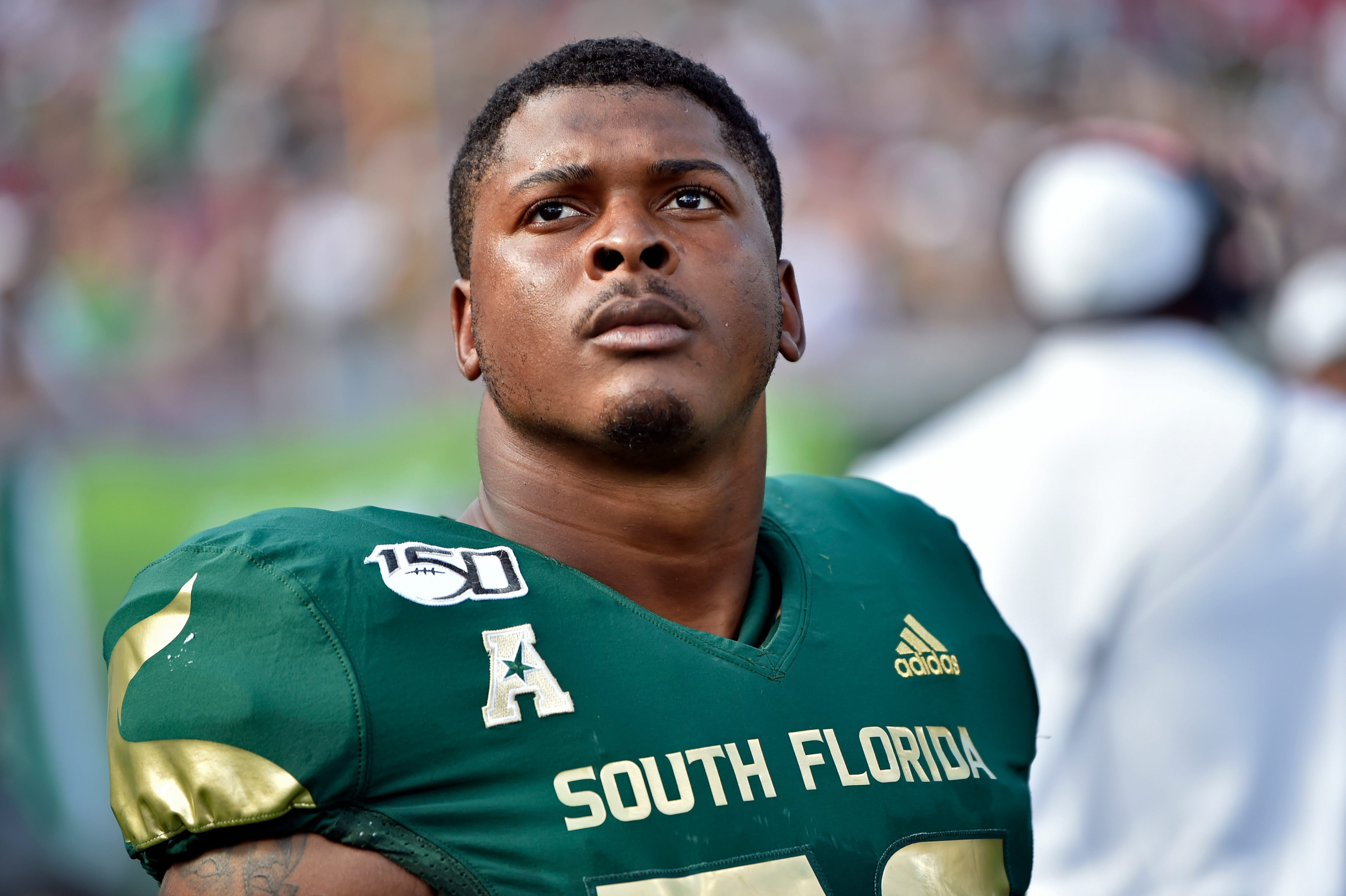 Tyrik Jones is a defensive end with the USF Bulls. Before transferring there, he was found responsible for sexual misconduct at Arizona Western College. Photographed Sept. 28, 2019, in Tampa, Florida.