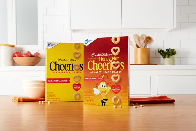 For a limited time, select boxes of Cheerios and Honey Nut Cheerios will have heart shapes.