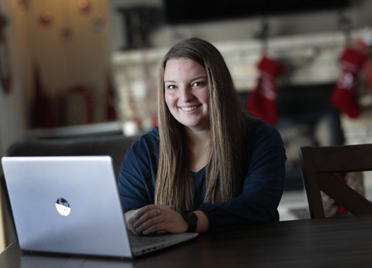Macey Pingel, a 2019 Chilton High School graduate, will graduate with her associate degree in business from Fox Valley Technical College.  She is seen here at her home Wednesday, December 11, 2019, in Chilton, Wis.