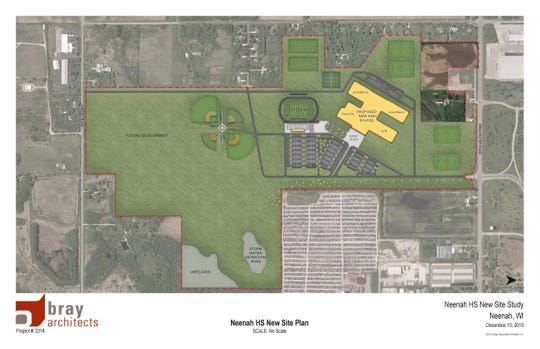 If approved, the Neenah Joint School District would construct a new high school, and the existing high school would be converted into an intermediate and middle school. Pictured is a rendering of the new high school.