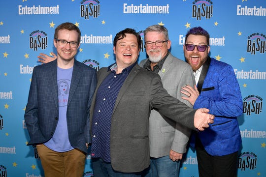 Griffin McElroy, from left, Justin McElroy, Clint McElroy and Travis McElroy attend Entertainment Weekly's Comic-Con Bash held at FLOAT, Hard Rock Hotel San Diego on July 20, 2019 in San Diego, California sponsored by HBO.