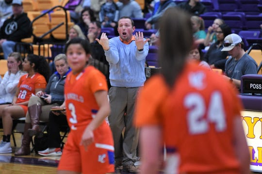 San Angelo Central coach Bric Turner reacts to a foul call during the game against Wylie at Bulldog Gym on Tuesday. The Lady Cats fought back from a 12-point deficit, but couldn't complete the comeback in a 28-22 loss.
