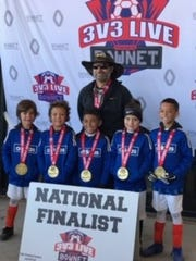 The Kicking Donkeys are, from left, Tucker Bratten, Thomas Rodriguez, Luca Martinez, Maxx Alcala and Jace Jones, with coach David Rodriquez.