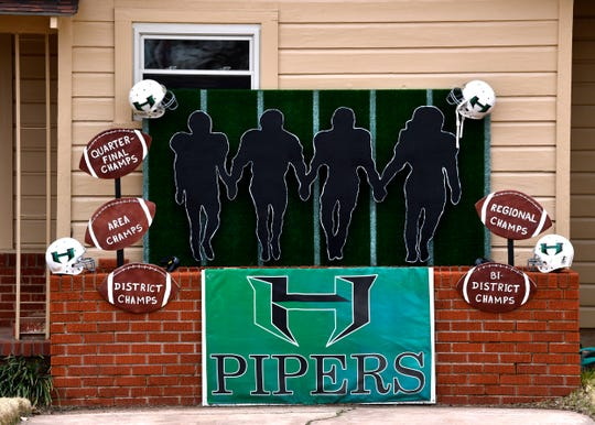 A homemade display in front of a house in Hamlin enumerates the Pied Pipers victories and cheers them onward.