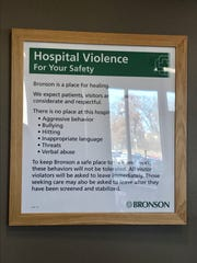 Bronson Hospital in Battle Creek has signs posted in the emergency department that outline expected behavior.