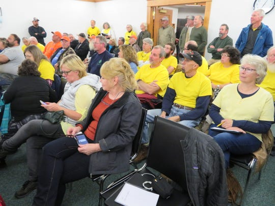 More than 60 people gathered at the Town of Sanford board meeting on Dec. 10, 2019 to discuss revisions to the land use code as it applies to renewable energy projects.