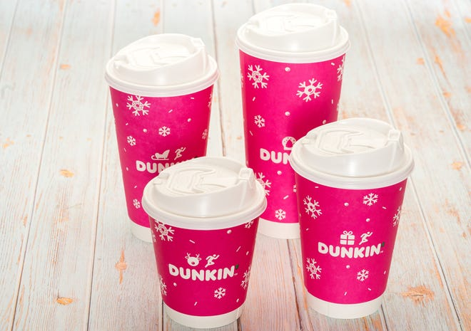 Dunkin's new double-walled paper cups (dressed up for the holidays).
