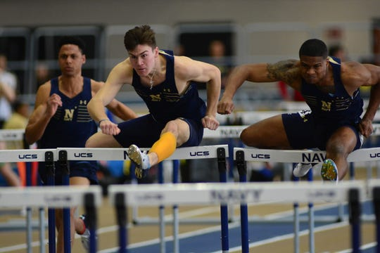 Flour Bluff grad Clayton Thompson broke the Navy 60m hurdles record with a time of 7.93 seconds at the Navy Invitational.