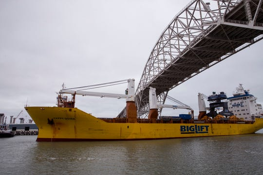 A ship carrying a Liebherr LPS 550 crane arrives at the Port of Corpus Christi on Wednesday, December 11, 2019. The $9.3 million crane will help increase offloading capacity and improve safety to better serve port customers.